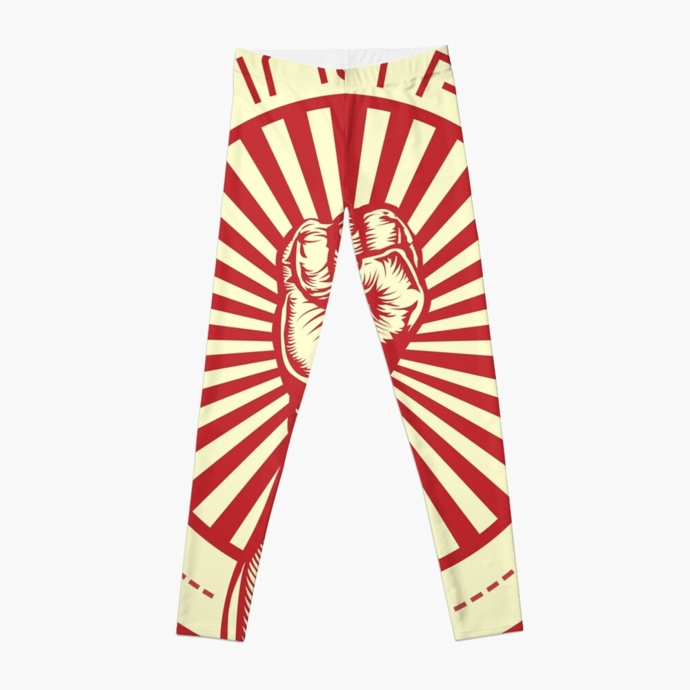 Grasping Triumph Russian Propaganda Raised Fist Art  Leggings
