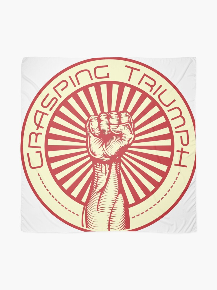 Alternate view of Grasping Triumph Russian Propaganda Raised Fist Art  Scarf