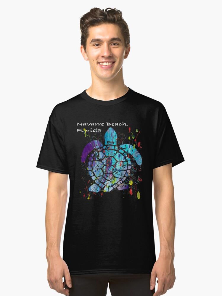 Beach Design Navarre Beach, Florida Abstract Sea Turtle Classic T-Shirt Front