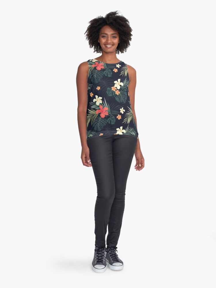 Alternate view of Dark tropical flowers Sleeveless Top