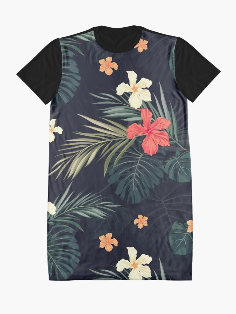 Alternate view of Dark tropical flowers Graphic T-Shirt Dress