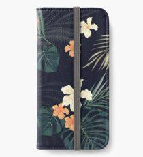 Dunkle tropische Blumen iPhone Flip-Case/Hülle/Klebefolie