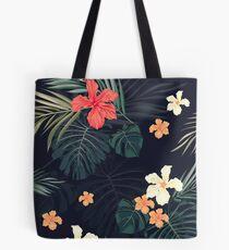 Dunkle tropische Blumen Tasche