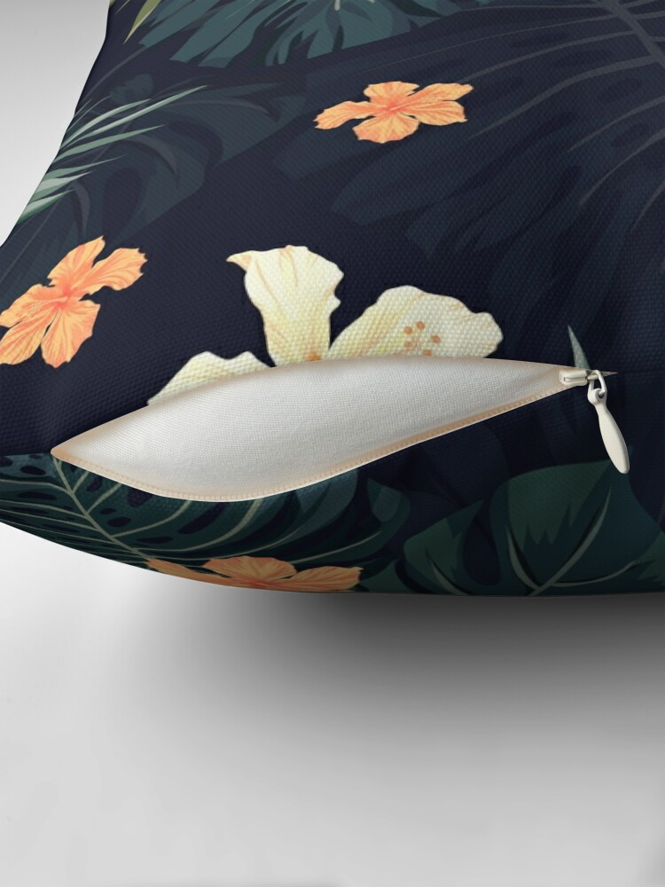 Alternate view of Dark tropical flowers Throw Pillow