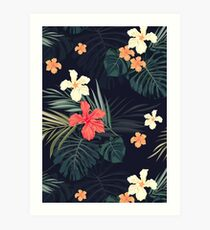 Dark tropical flowers Art Print