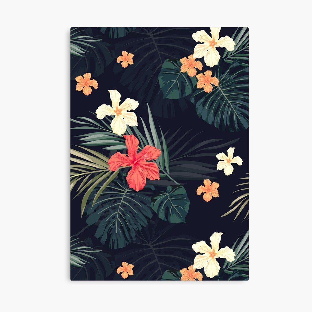Dark tropical flowers Canvas Print