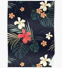 Dark tropical flowers Poster