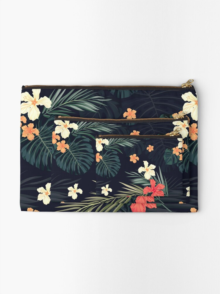 Alternate view of Dark tropical flowers Zipper Pouch