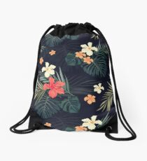 Dark tropical flowers Drawstring Bag