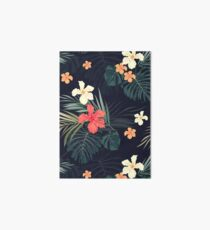 Dark tropical flowers Art Board Print