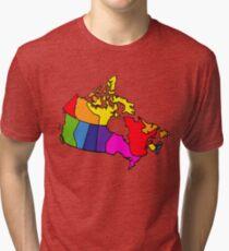 Rainbow Canada Map Tri-blend T-Shirt