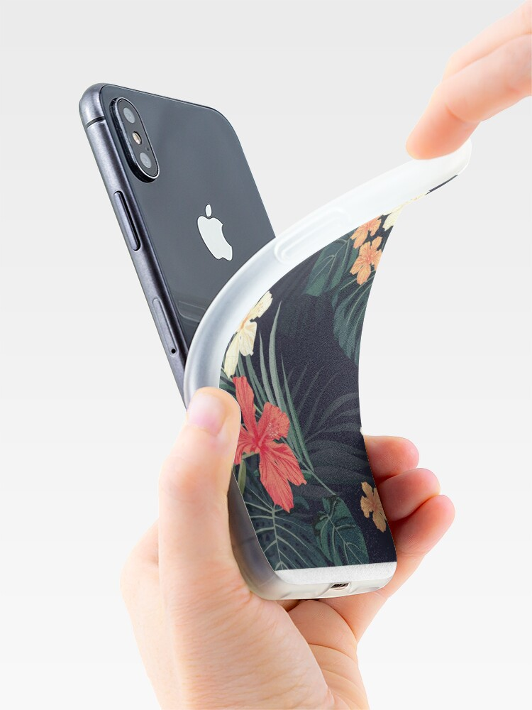 Alternate view of Dark tropical flowers iPhone Case & Cover