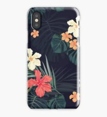 Dark tropical flowers iPhone Case