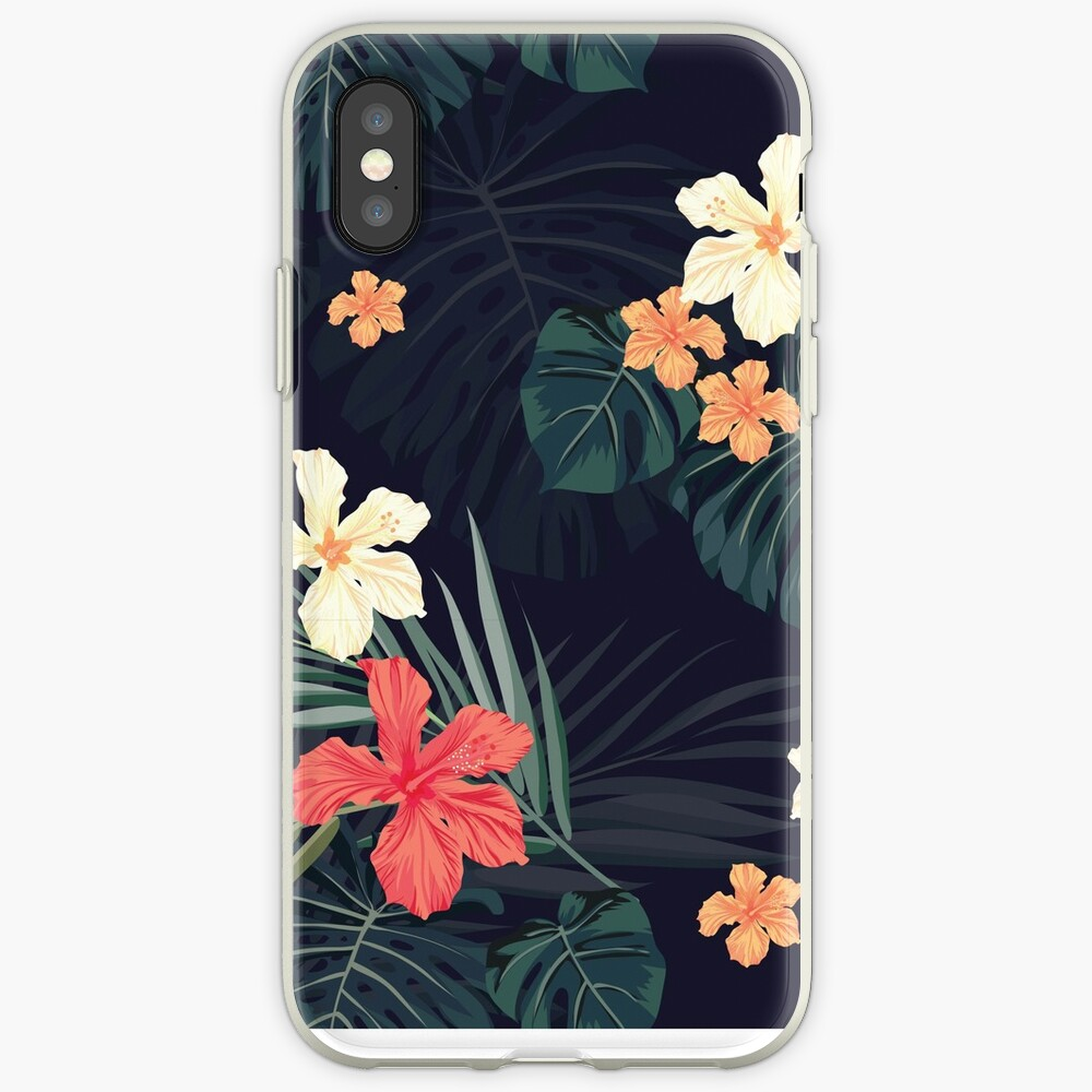 Dark tropical flowers iPhone Case & Cover