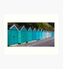 Bournemouth Beach Huts in Blue  Art Print