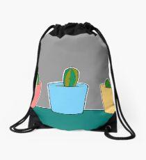 Three Little Cactus Drawstring Bag