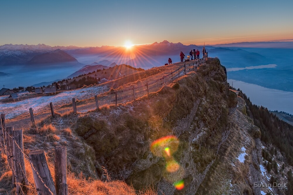 sunset on top of the mt rigi switzerland by susan dost redbubble