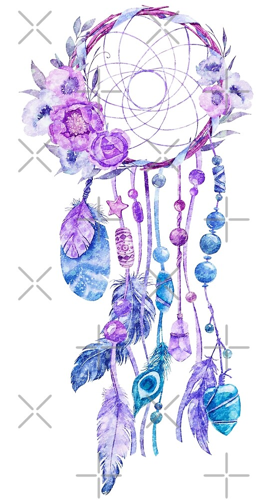 Dreamcatcher Colorful Boho Flowers & Feathers by artonwear