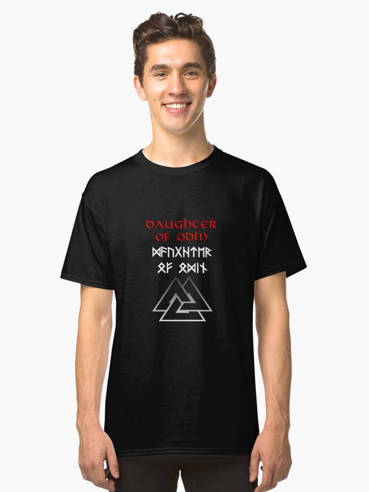 Daughter of Odin (Runic) Classic T-Shirt Front