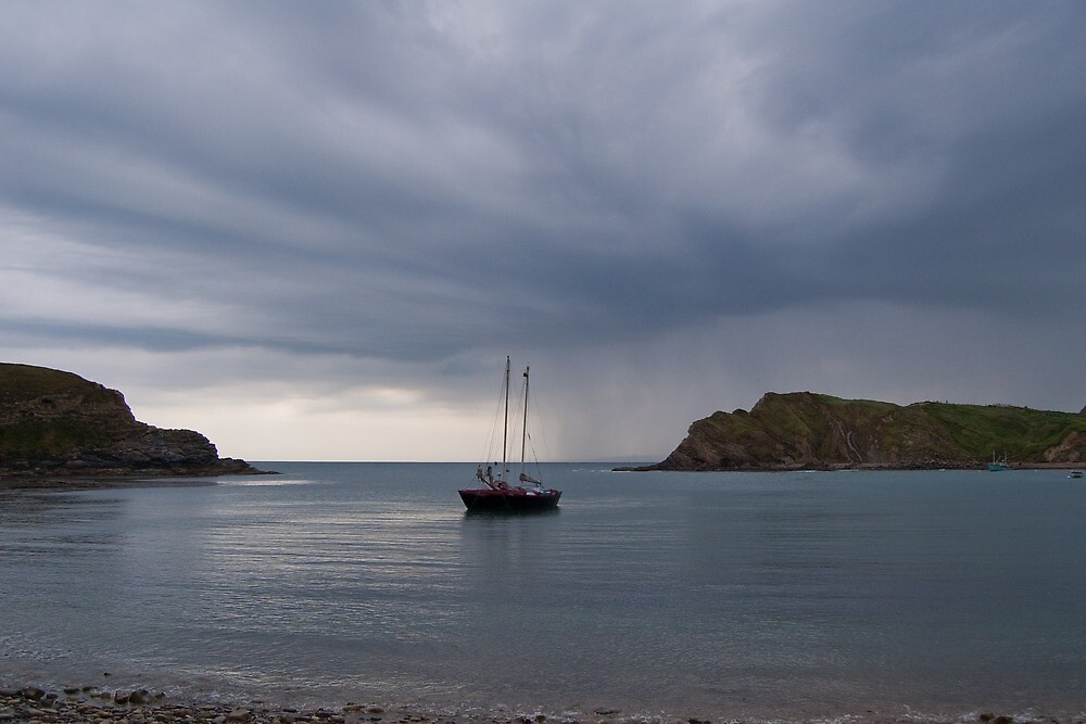 Lulworth Cove - At anchor. by Tony Reed