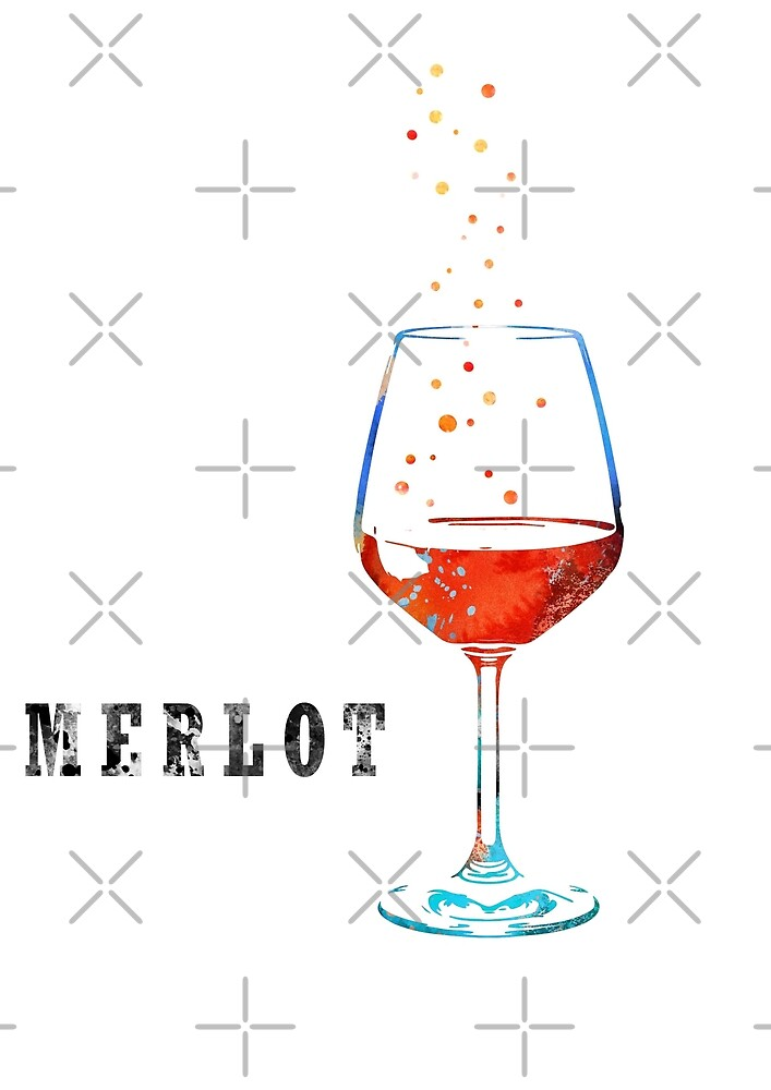 Merlot, watercolor merlot, wine by Rosaliartbook