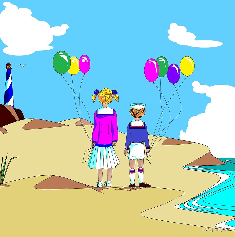 Two Nautical Dressed Children on the Shore on Vacation with Balloons by Judy Snyder