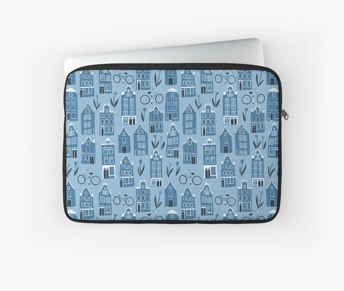Blue Dutch houses cute pattern by shoshannahscrib