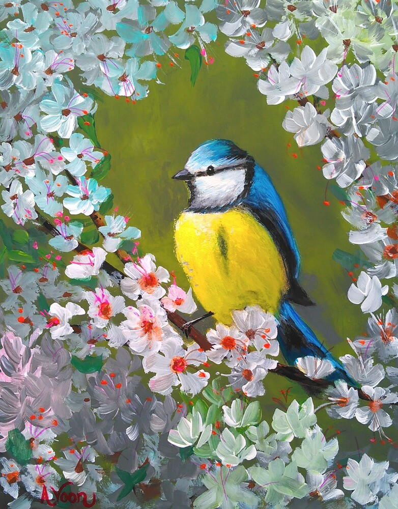 Cherry Blossoms and Blue Tit by adriart59