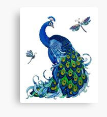 Peacock and Dragonfly Design Canvas Print