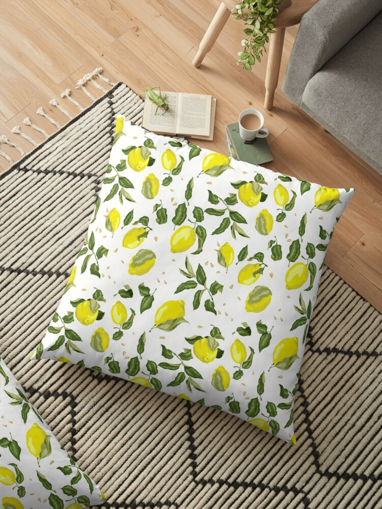 Lemon citrus pattern with juicy fruits, leaves and seeds by Yulia Fushtey