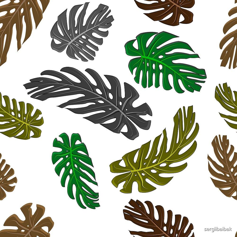 Exotic tropical monstera pattern spring design. by sergiibaibak