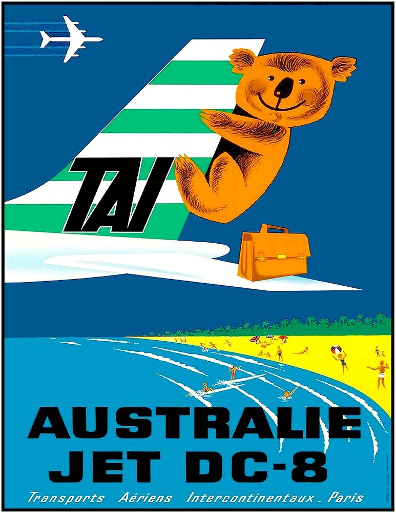 TAI AIRLINES : Vintage 1960 Air Travel Advertising Print by posterbobs