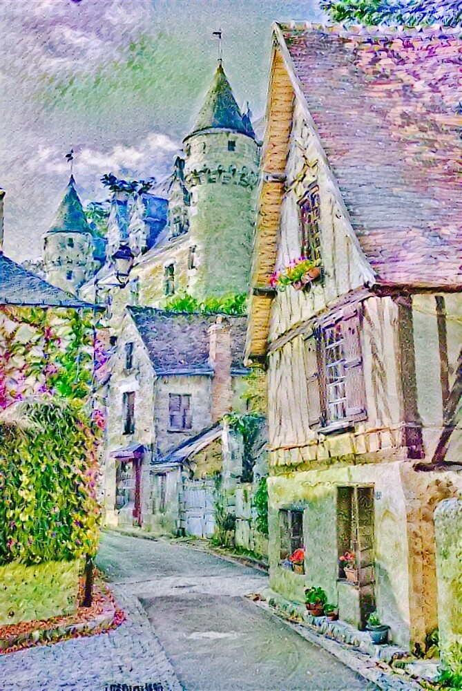 European Style Little town in purple and green painting by wel3kxial