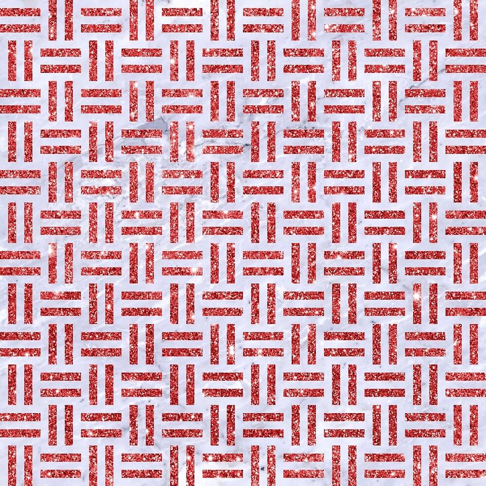 WOVEN1 WHITE MARBLE & RED GLITTER (R) by johnhunternance
