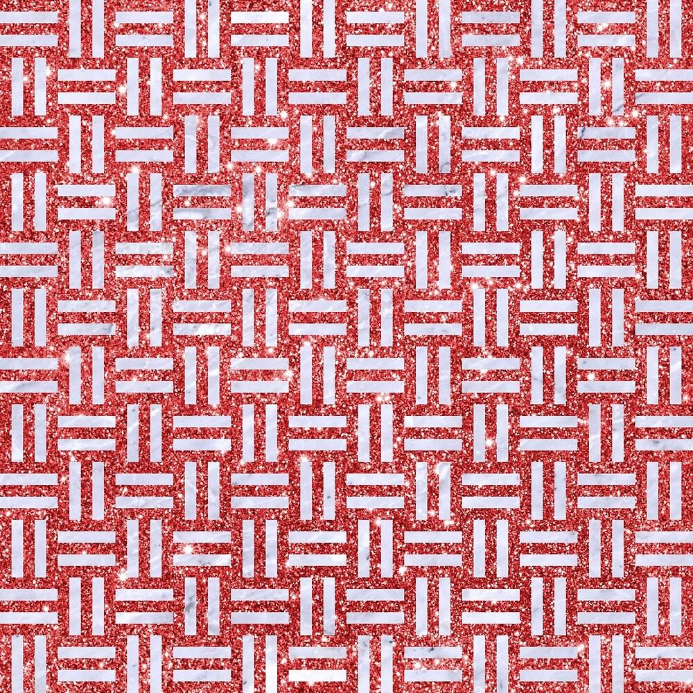 WOVEN1 WHITE MARBLE & RED GLITTER by johnhunternance