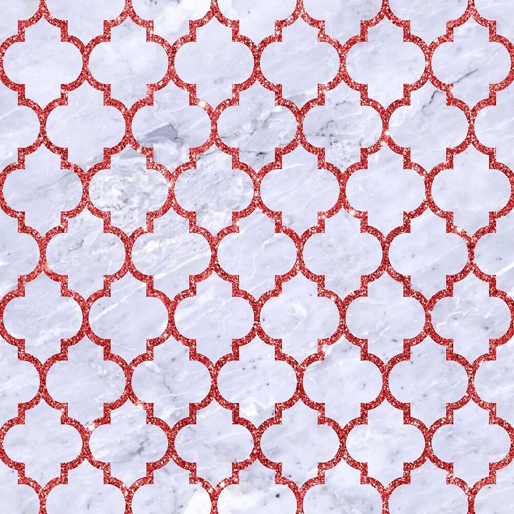 TILE1 WHITE MARBLE & RED GLITTER (R) by johnhunternance