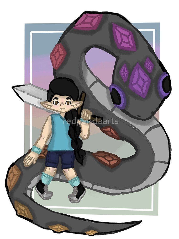 Girl and her giant pet snake by redpandaarts