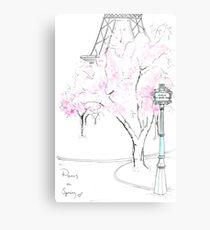Paris in voller Blüte Metallbild