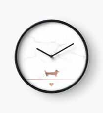 Rose gold and marble dachshund love Clock