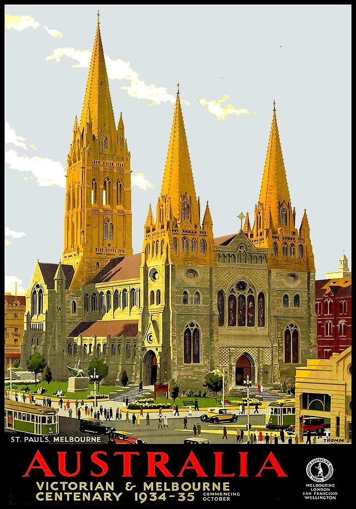 ST PAULS CHURCH : Vintage 1934 Melbourne Australia Print by posterbobs