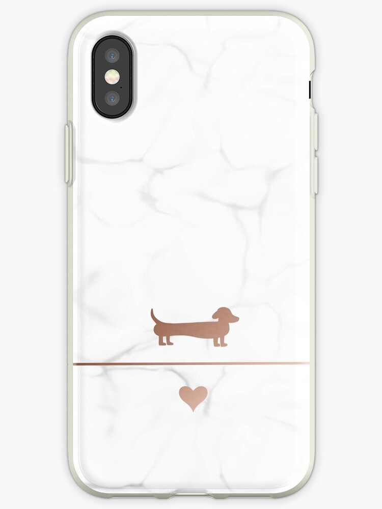 Rose gold and marble dachshund love by LaurasLovelies