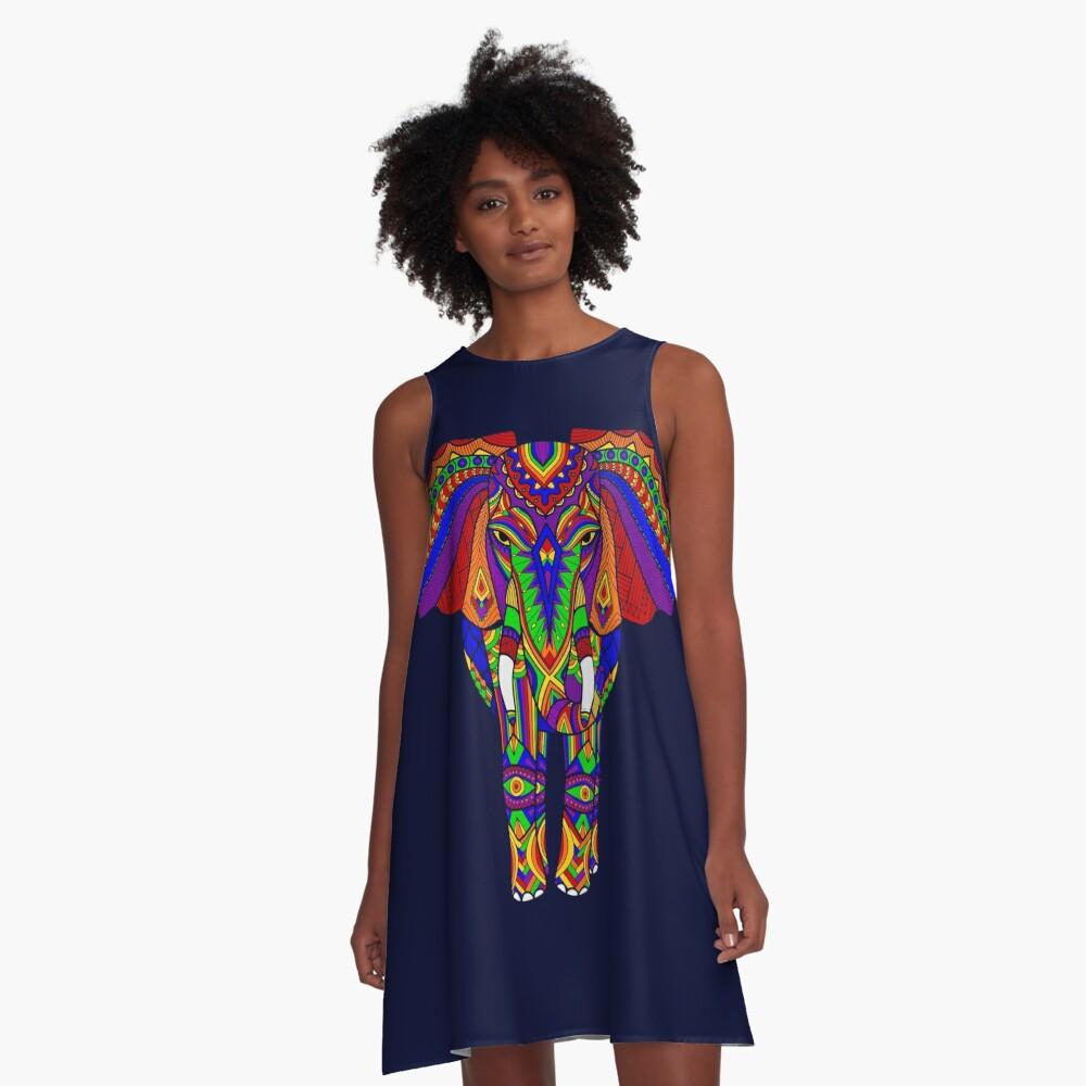 Rainbow Tribal Elephant Art A-Line Dress Front