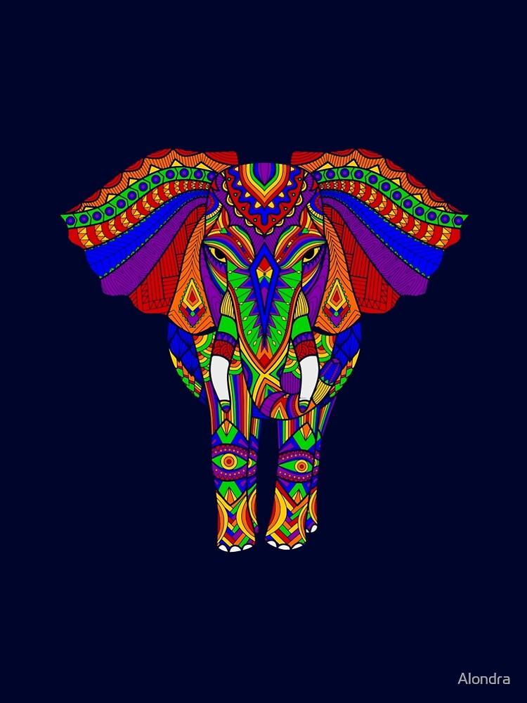 Rainbow Tribal Elephant Art by Alondra
