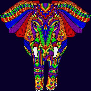 Rainbow Tribal Elephant Art by Alondra