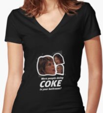 Coke in the Bathroom? B/W Women's Fitted V-Neck T-Shirt
