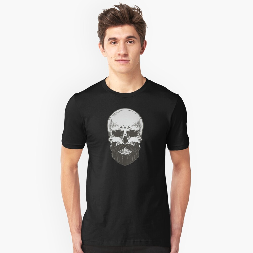 Skull with beard. Unisex T-Shirt Front