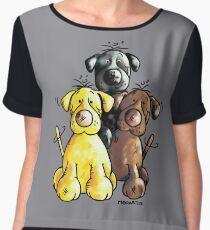 Three Cute Labradors Cartoon Chiffon Top