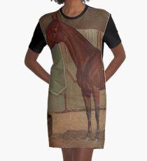 Vintage Rennpferd Illustration (1882) T-Shirt Kleid