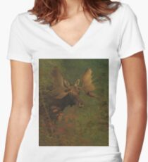 Vintage Painting of a Bull Moose  Women's Fitted V-Neck T-Shirt