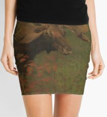 Vintage Painting of a Bull Moose  Mini Skirt